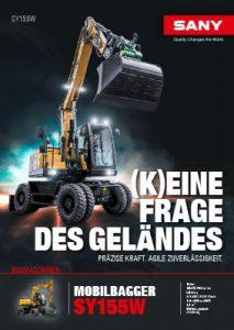 SANY Europe Baumaschine SY155W Broschüre Cover